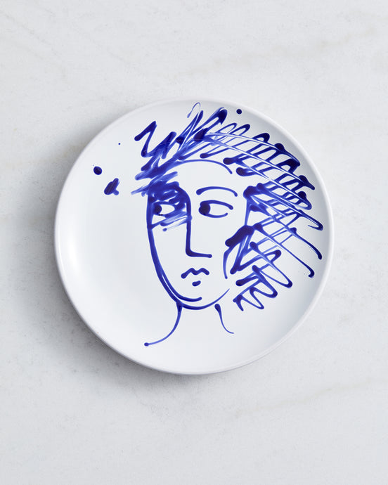 Alex and Trahanas Ceramic Plate in Blue