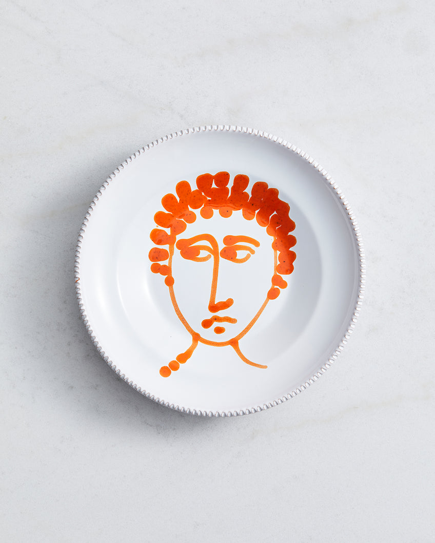 Alex and Trahanas Ceramic Plate in Orange