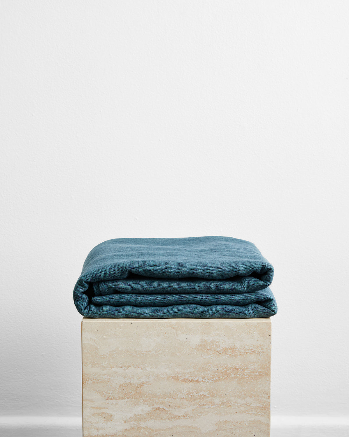 Petrol 100% French Flax Linen Throw