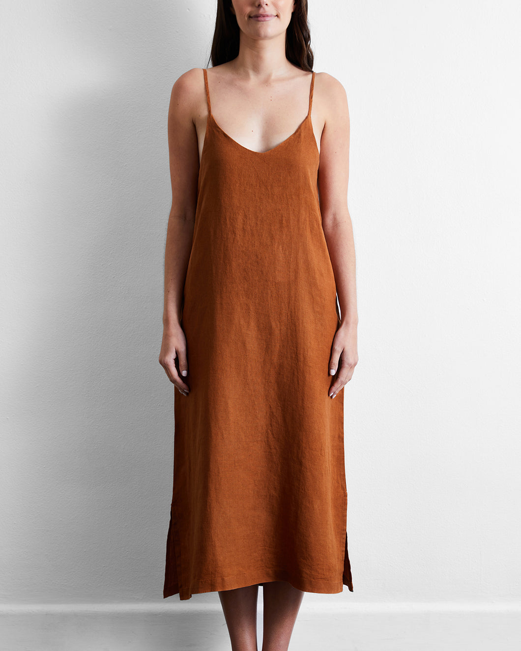 100% French Flax Linen Midi Dress in Rust
