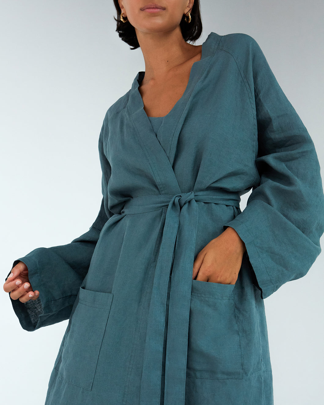 100% French Flax Linen Classic Robe in Petrol