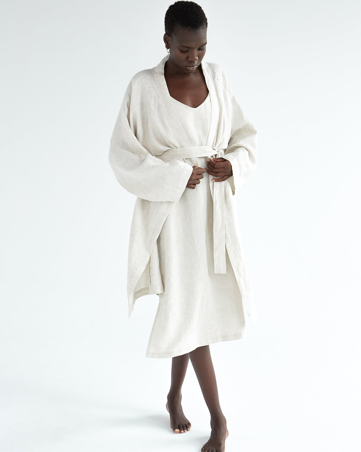 100% French Flax Linen Robe in Oatmeal