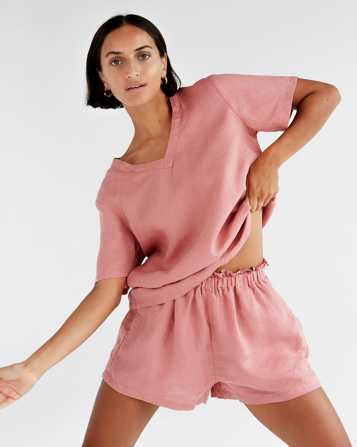 100% French Flax Linen T-Shirt in Pink Clay