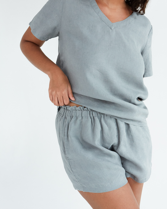 100% French Flax Linen Shorts in Mineral