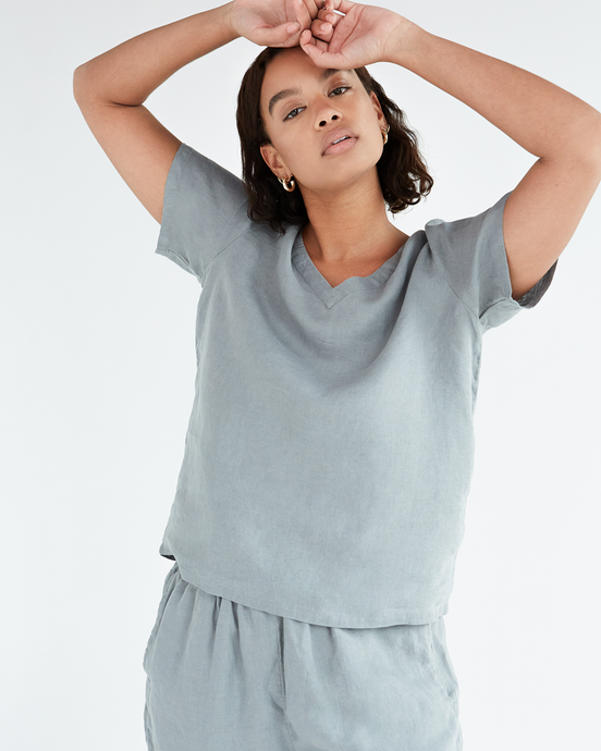 100% French Flax Linen T-Shirt in Mineral