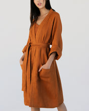 Load image into Gallery viewer, 100% Linen Waffle Robe in Rust