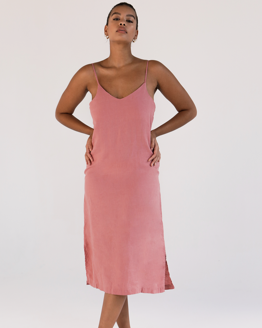 100% French Flax Linen Midi Dress in Pink Clay