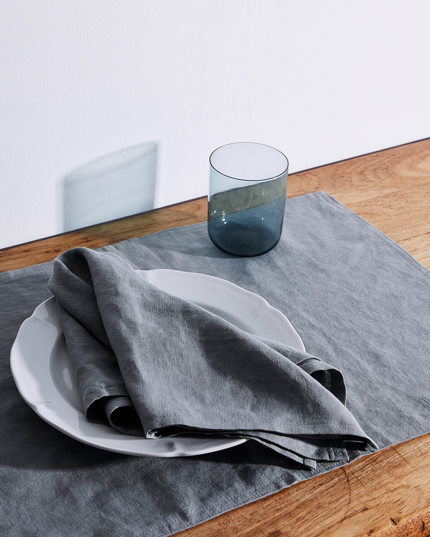 100% Linen Napkins in Mineral (Set of Four)