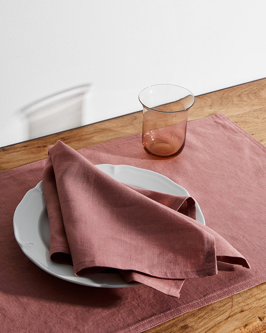 100% Linen Napkins in Pink Clay (Set of Four)