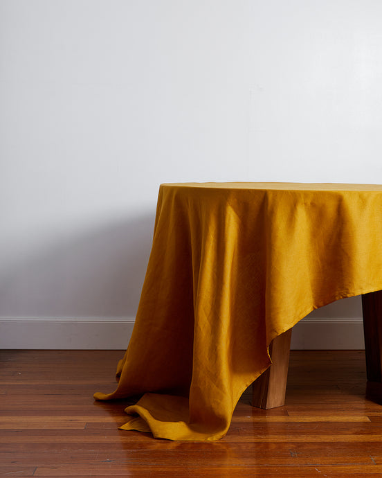 100% Linen Tablecloth in Turmeric