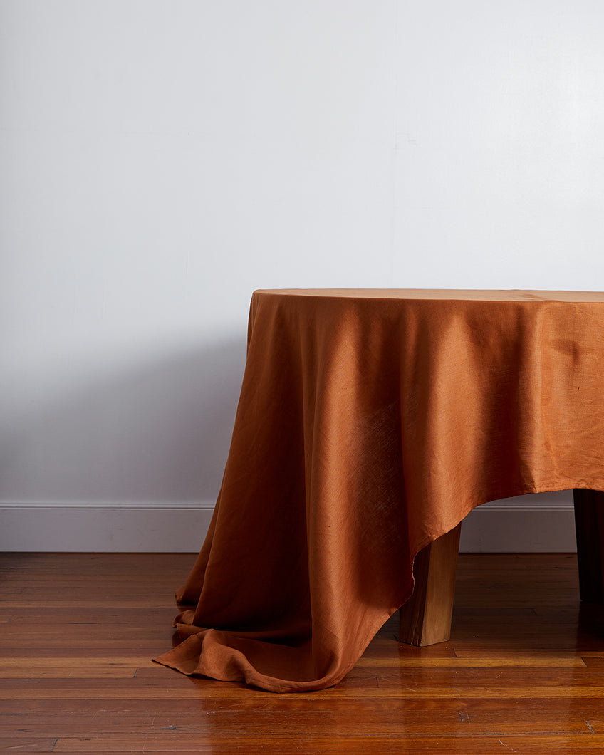 100% Linen Tablecloth in Rust
