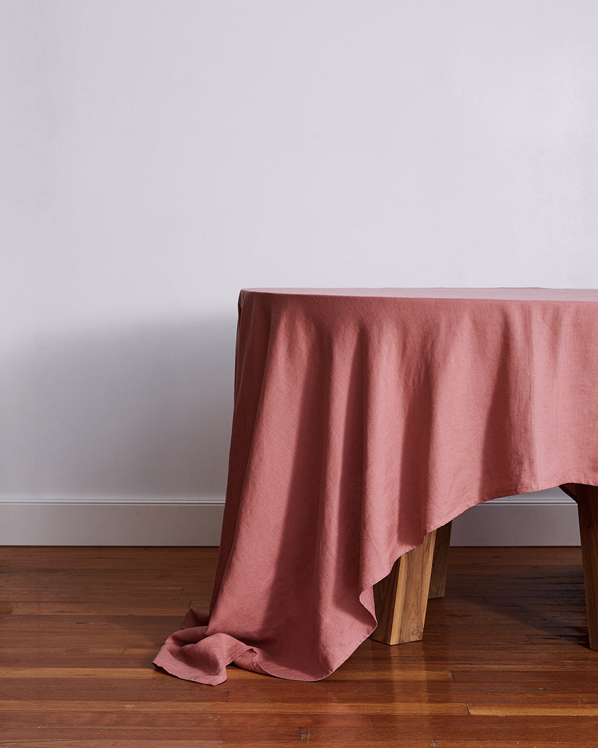 100% Linen Tablecloth in Pink Clay