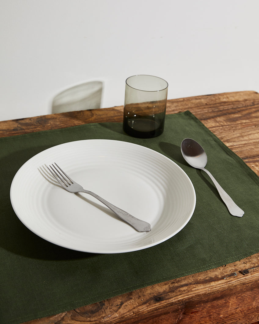 100% Linen Placemats in Olive (Set of Four)