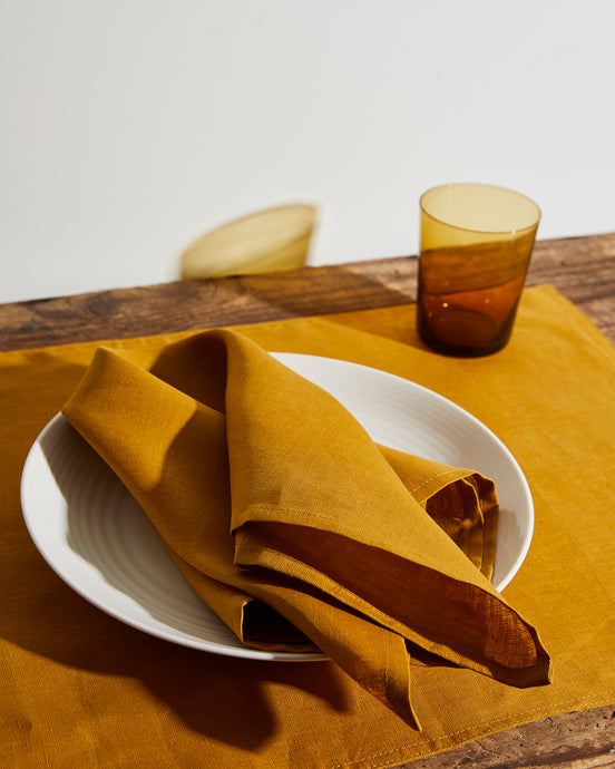 100% Linen Napkins in Turmeric (Set of Four)