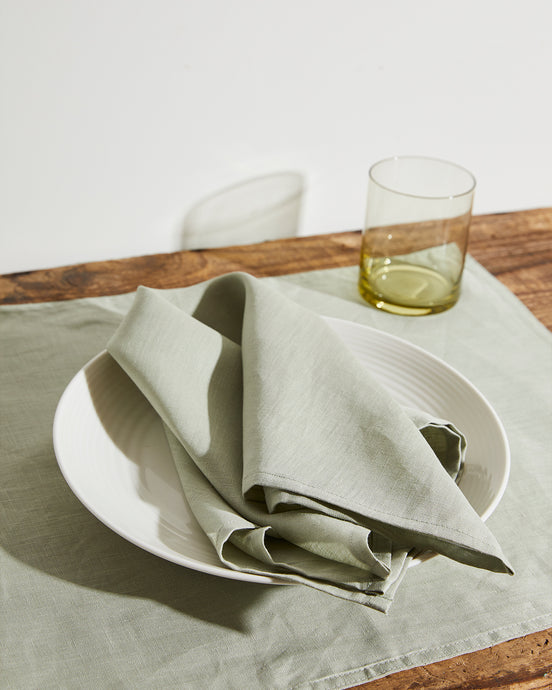 100% Linen Napkins in Sage (Set of Four)