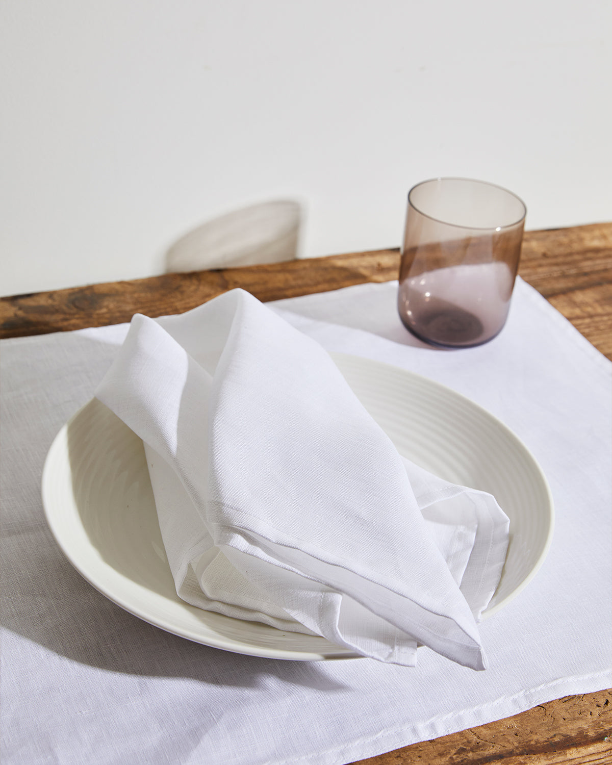 100% Linen Napkins in White (Set of Four)