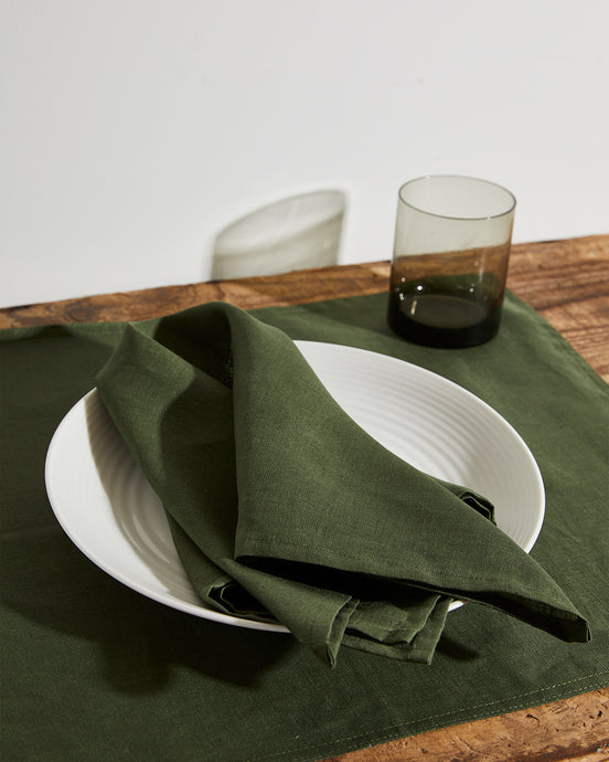 100% Linen Napkins in Olive (Set of Four)