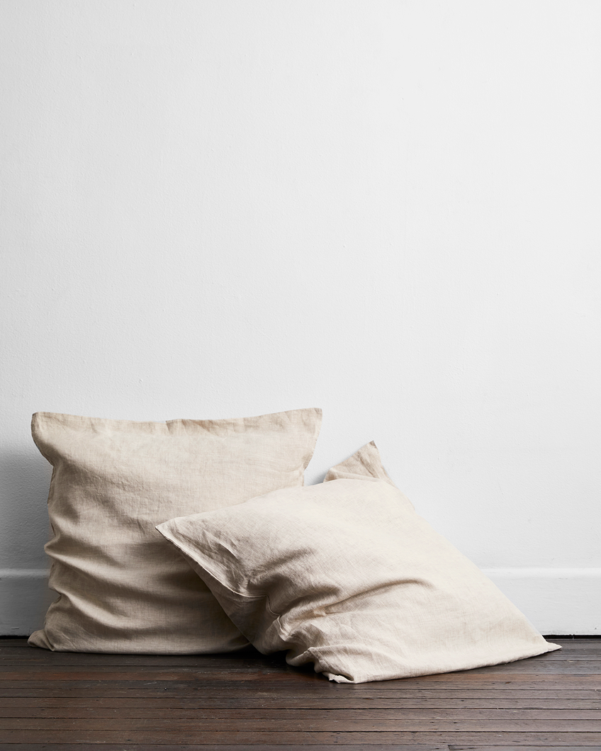 Oatmeal 100% Flax Linen European Pillowcases (Set of Two)