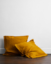 Load image into Gallery viewer, Turmeric 100% Flax Linen European Pillowcases (Set of Two)