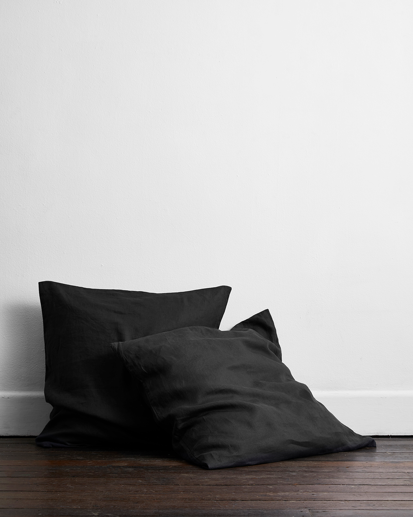 Charcoal 100% Flax Linen European Pillowcases (Set of Two)