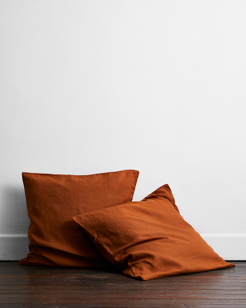 Rust 100% Flax Linen European Pillowcases (Set of Two)