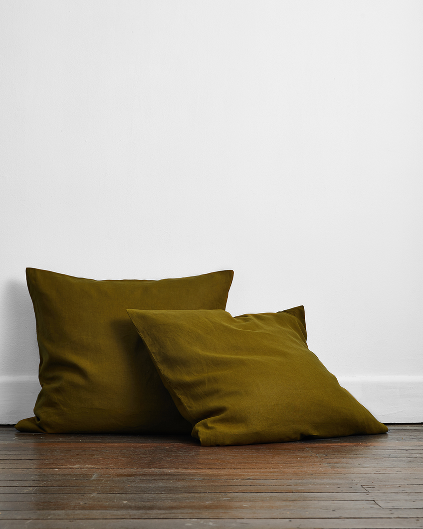 Khaki 100% Flax Linen European Pillowcases (Set of Two)