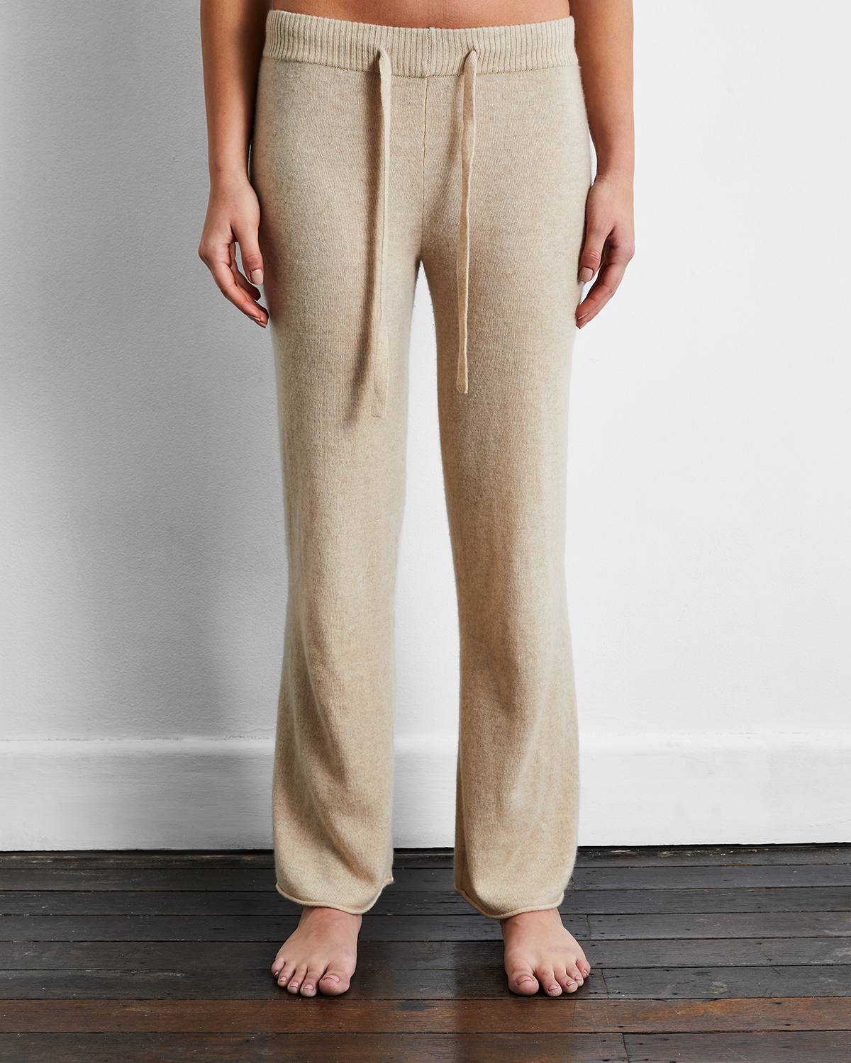 100% Cashmere Pants in Oatmeal