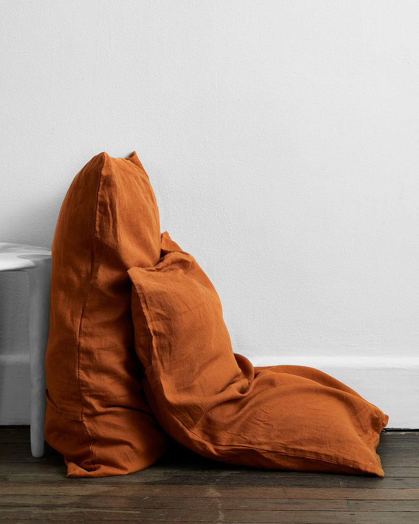 Rust 100% Flax Linen Pillowcases (Set of Two)