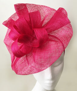 Tia Large Fuchsia Pink Fascinator, Bright Pink Kentucky Derby Hat, Royal Wedding Hat, Spring Racing Fashion, Pink Fascinator Hat with Headband, KY Oaks