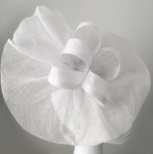 Tia Large Pure White Fascinator, Royal Wedding Hat, White Kentucky Derby Hat, Oaks Fascinator Headband, Spring Racing Fashion 2019, White Millinery