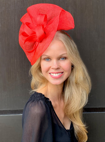 Tia Big Bright Red Derby Fascinator