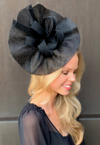 Tia Large Black Fascinator