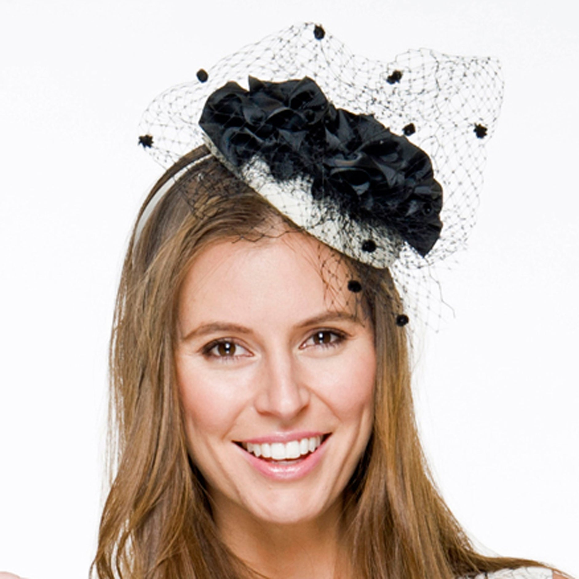 Layla Black & Cream Fascinator, Kentucky Derby Hat, Royal Wedding Hat, Black and White Cocktail Hat, Spring Racing Headband, Women's Tea Hat