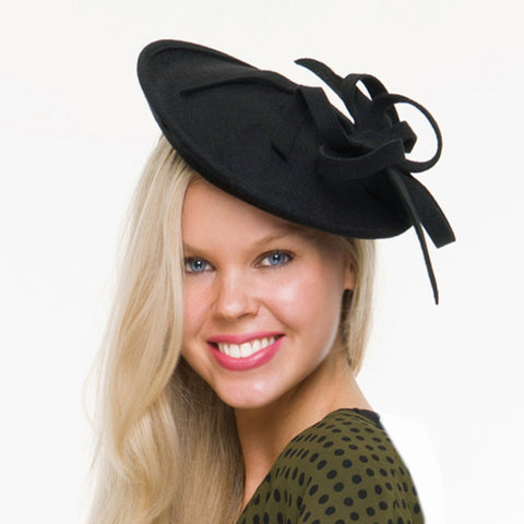 Milly Black Wool Felt Fascinator, Black Derby Hat, Winter Fascinator, Wool Wedding Hat, Royal Hat, Derby Hats for Women, Fancy Tea Party Hat