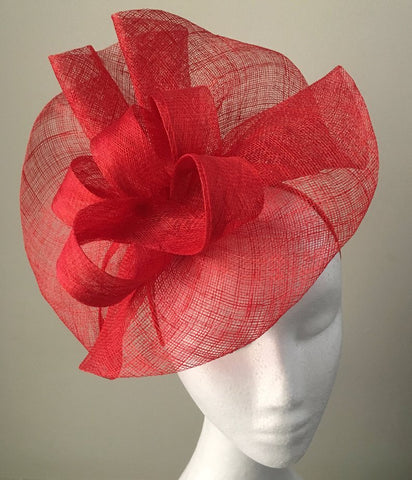 Tia Large Bright Red Fascinator, Royal Wedding Hat, Kentucky Derby Hat, Spring Racing Headband, Women's Tea Hat, Red Millinery, Derby Fashion