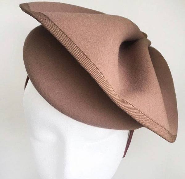 Sophia Taupe/ Deep Beige Fascinator, Women's Tea Party Hat, Wool Derby Hat, Ladies Fancy Hat, Taupe Felt Hat, Church Hat, Royal Wedding Hats