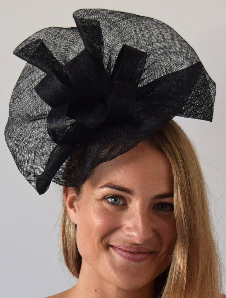 1e95cc9b6875 ... Tia Large Black Derby Fascinator, Royal Wedding Hat, Kentucky Derby Hat,  Derby Hats