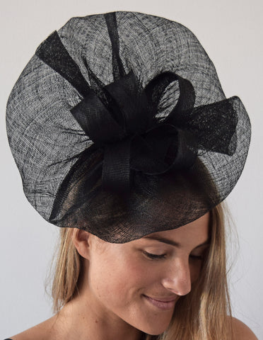 Tia Large Black Derby Fascinator, Royal Wedding Hat, Kentucky Derby Hat, Derby Hats for Women, Spring Racing Fashion, Ladies Tea Hat Black