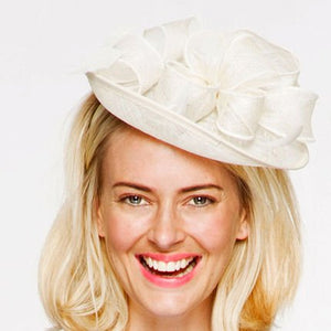 Megan Cream White Fascinator, Kentucky Derby Hat, KY Oaks Headband, White Spring Racing Hat, British Wedding Hat, Women's Tea-Party Hat