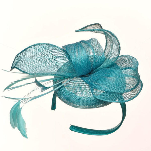Betsy Turquoise/Aqua/ Teal Fascinator, Kentucky Derby Hat Teal, Spring Racing Headband, Ladies Wedding Millinery, Cocktail Hat,Tea-Party Hat
