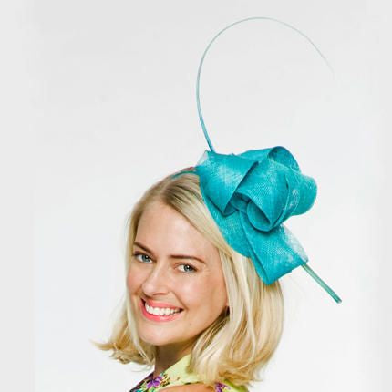 Cara Aqua/ Teal Fascinator Hat, Spring Racing Headband, Kentucky Derby Fascinator, Ladies Wedding Hat, Fancy Hats for Women, Tea-Party Hat