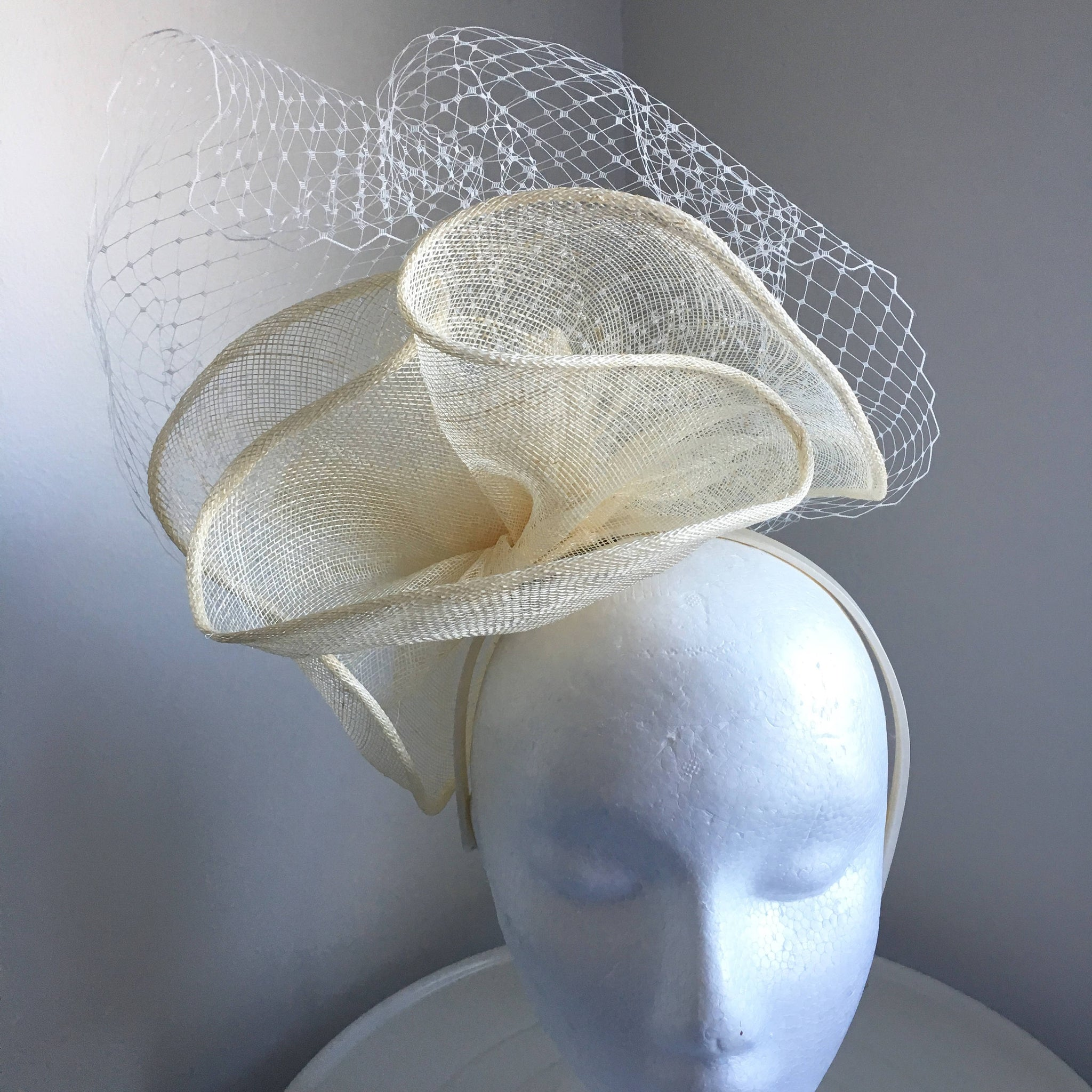 Sale item** Aubrey Cream Fascinator with Netting, Oaks Fascinator, Kentucky Derby Hat with Headband, Spring Racing Hat, Cream Hat, Wedding Hat,Women's Hat