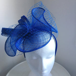 SALE ITEM**Aubrey Blue Fascinator, Kentucky Derby Fascinator, Blue Derby Headband, Royal Wedding Hat, Women's Tea Hat, Blue Racewear
