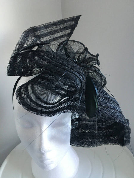 SALE item* Ava Black Fascinator, Kentucky Derby Fascinator, Ladies Wedding Hats, Spring Racing Fashion 2019, Black Tea-Party Hat, Royal Hats