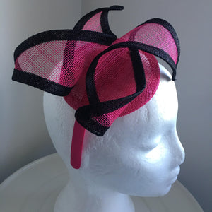 Ruby Pink & Black Fascinator, Kentucky Derby Headband, Fancy Pink Hat, Spring Racing Fashion, Wedding Hat, Women's Millinery, Tea-Party Hat
