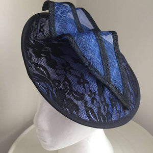 Caprice Royal Blue & Black Fascinator, Kentucky Derby Fascinator Hat, Spring Racing Fashion 2019, Wedding Hats for Women, Tea-Party Headband