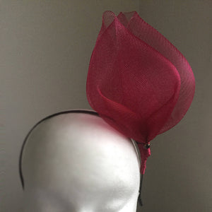 SALE ITEM* MIKA Cherry Red Fascinator, Maroon Kentucky Derby Fascinator, Cherry Oaks Headband, Spring Racing Fashion, Wedding Headpiece, Tea Hat