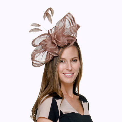 Ava Gray Fascinator, Kentucky Derby Hat, Spring Racing Millinery, KY Oaks Headband, Gray Hat, Fancy Wedding Hat, Women's Tea Party Hat