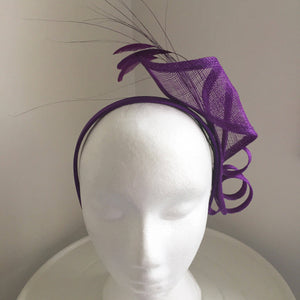 Lana Purple Derby Fascinator, Purple Oaks Headband, Kentucky Derby Hats, Purple Hair Accessory, Royal Wedding Fascinator, Women's Fancy Hats