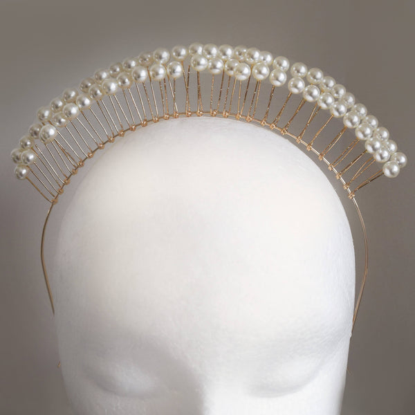 SALE ITEM Freya Pearl-Look Gold Headpiece, Simulated Pearl Crown, Pearl Headband, Cream Derby Headpiece Fascinator, Wedding Headpiece,Bridal